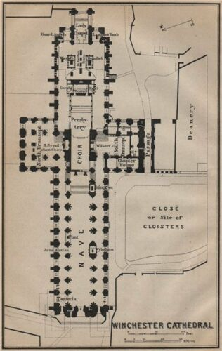 WINCHESTER CATHEDRAL floor plan BAEDEKER 1910 old antique map Hampshire