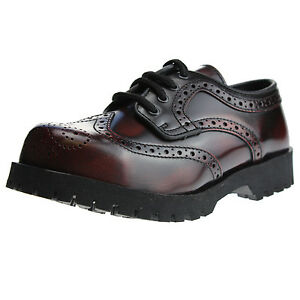 Boots-and-Braces-4-Loch-Budapester-Burgundy-Rubb-Off-Schuhe-Rangers-Rot-Schwarz