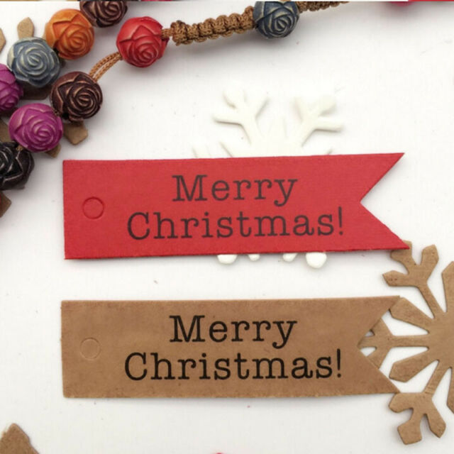 100pcs Merry Christmas Letter Print Paper Gift Tags Price Wedding Label Shan