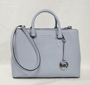 Details about Michael Kors Savannah Large SatchelShoulder Bag in Pale Blue Saffiano Leather