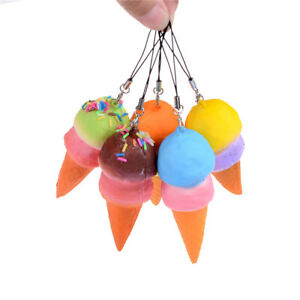 Scented-IceCream-Cone-Slow-Rising-Soft-Squeeze-Toy-Gift-Keyring-Decor-J-amp