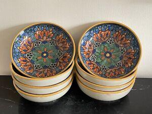 Puebla Mexican Talavera De la Reyna Malla Café Pattern Bowls Set of 8