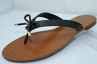 Kate Spade Charles Shoes Black Sandals Size 7.5 Thongs Flats Leather