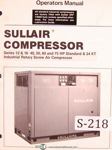 sullair series 12 16 40 50 60 75hp standard 24kt air rh ebay com Sullair 185 Manual PDF Sullair 185 Manual PDF