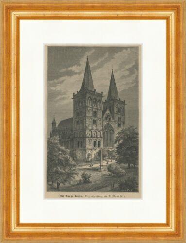 Dom zu Xanten Wesel Niederrhein Stiftskirche Holzstich E 23880 Gerahmt