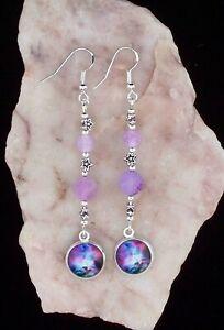 Universe Glass Cabochon,Purple Frost Bead,925 Silver Hook,6cm Long Earrings