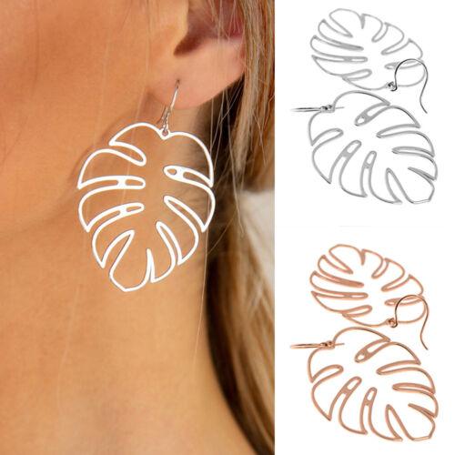 QA/_ Boho Hollowed Palm Leaf Hook Earrings Women Party Club Bar Jewelry Gift Sa