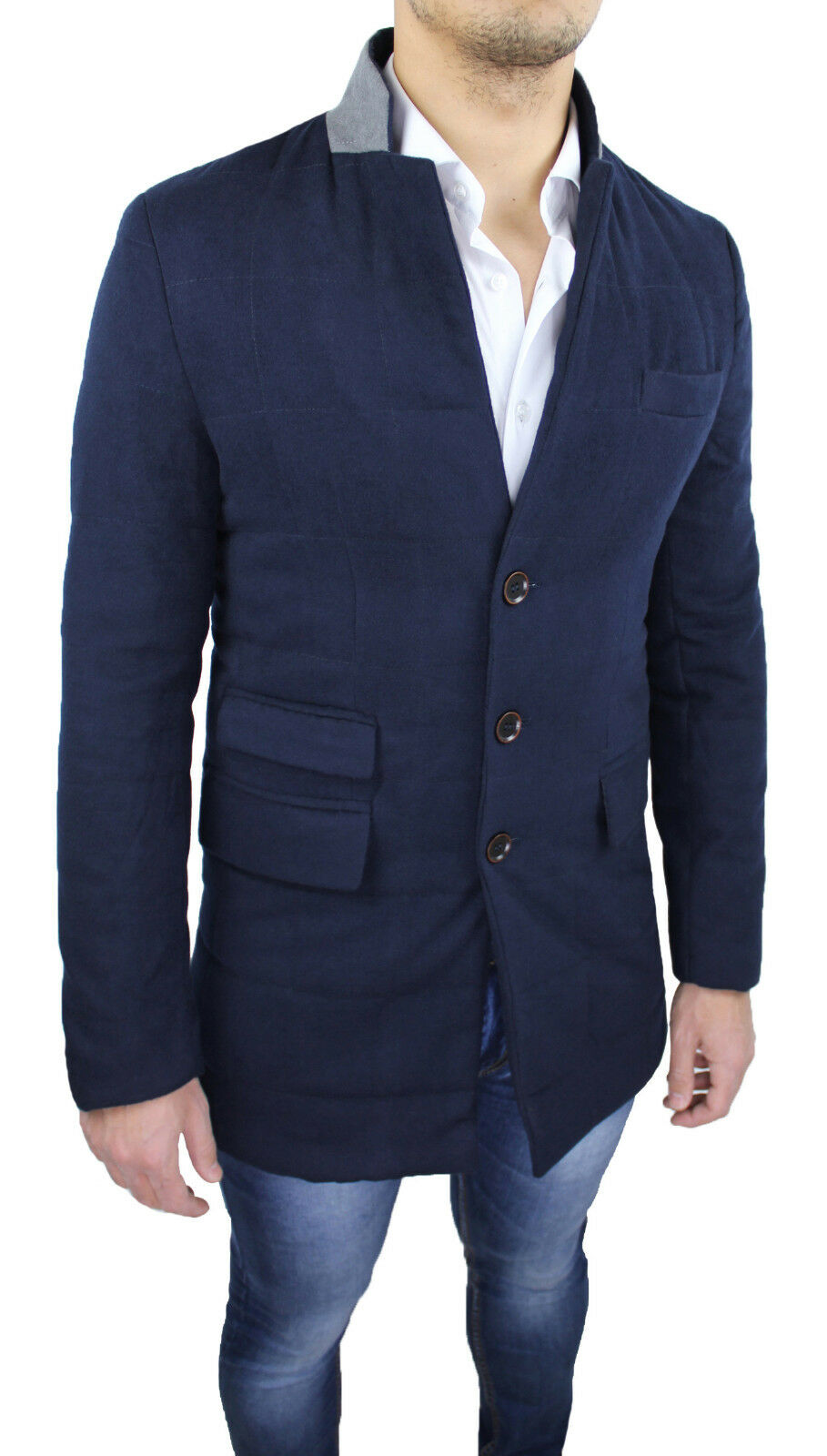 CAPPOTTO INVERNALE men DIAMOND blue NAVY CASUAL GIACCA GIUBBOTTO LUNGO SLIM FIT