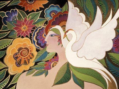 "Laurel Burch Card  Birthday /""Swan Goddess/""  With Envelope"