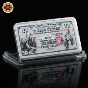 WR-US-National-Bank-of-Butte-1875-20-Colored-Silver-Art-Bar-Gifts-For-Men