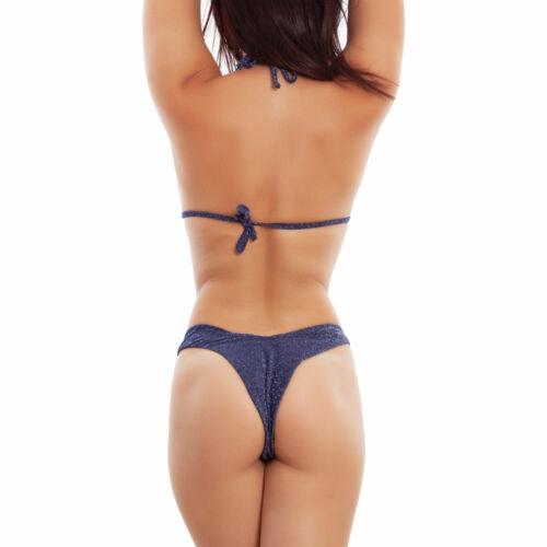 Bikini donna triangolo lurex glitter due pezzo costume da bagno mare DY81177