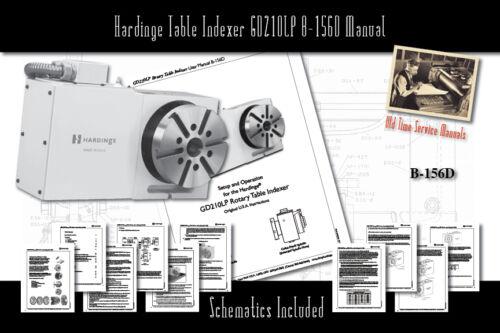Hardinge Table Indexer GD210LP B-156D Service User Manual Parts Schematics
