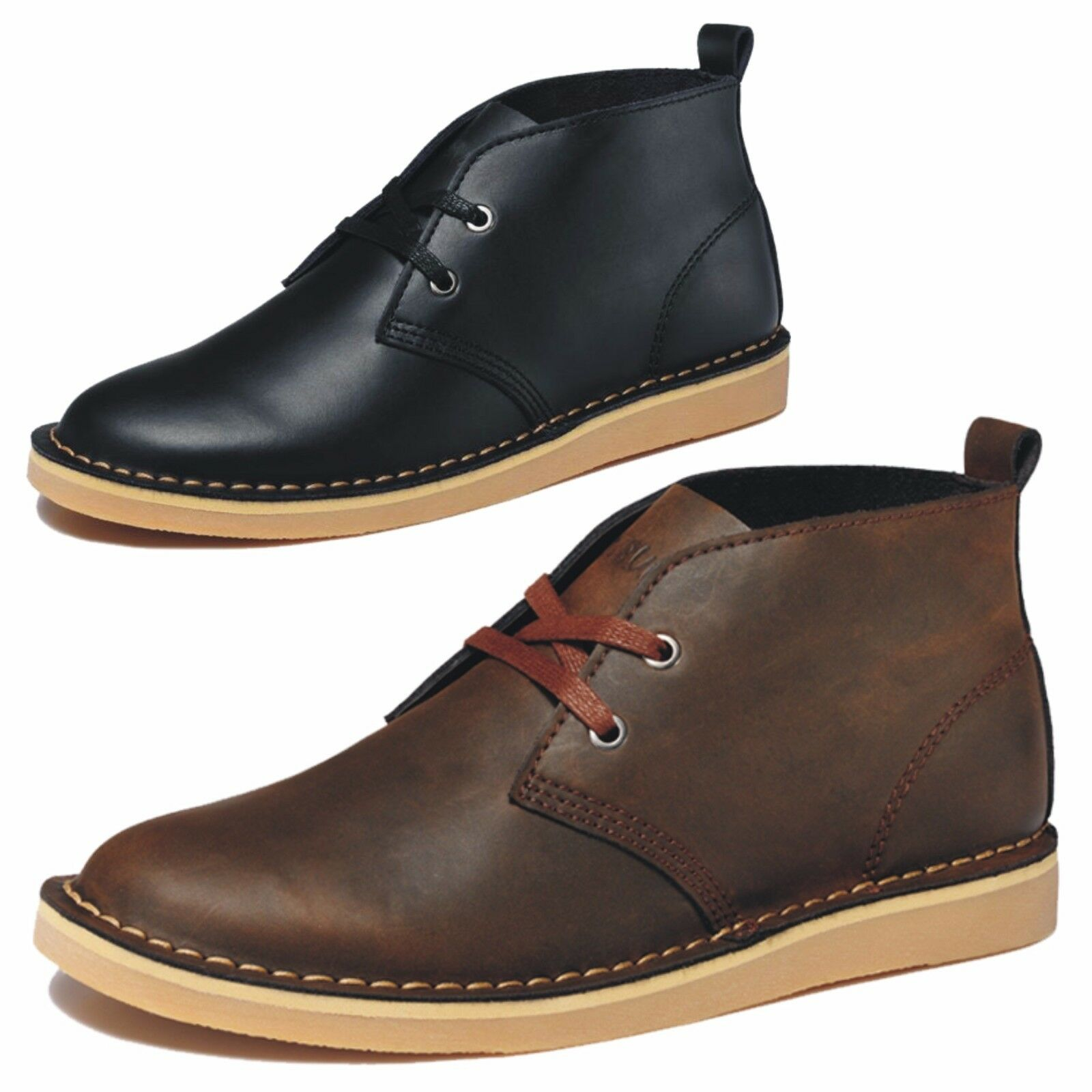 Fashion Mens Ankle Boots Casual Leather Desert Boots Lace up Outdoor Work shoes