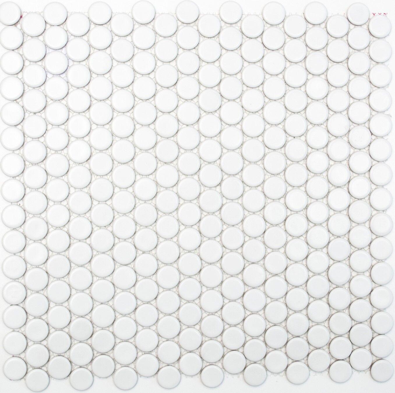 Mosaik Fliese Keramik Knopf weiß matt Schwimmbad Pool   10-0111_f   10 Matten