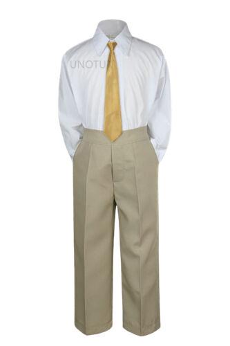 Details about  /Baby Toddler Kid Boys Wedding Formal 3pc Set Shirt Khaki Pants Necktie Suit