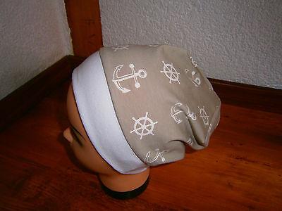 ♥Neu-Handmade♥Marine-Anker♥Beanie♥ Mütze♥Kindermütze♥KU 38-54♥Jungs♥
