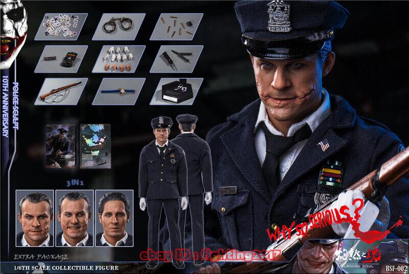 Bsf002 policía Batman Joker Alma Ardiente escala 1 6 Figura de Acción 3 cabezas en existencias