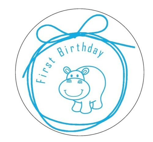 First Birthday stickers Cute Panda gloss white labels invitation seals party 100