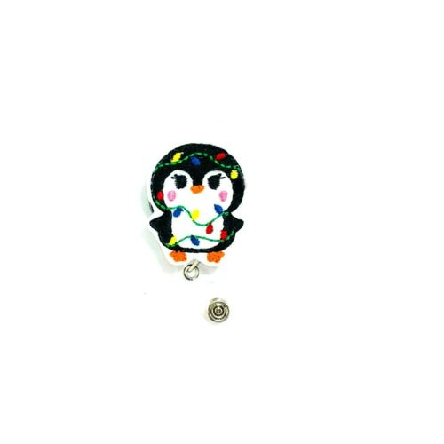 Penguin Christmas Badge Reel Holder Charm Holiday Xmas Cover Clip ID Accessory
