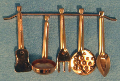 1:12 Maßstab 5 Kupfer Küchenutensilien /& Halter Tumdee Puppenhaus Miniatur 639