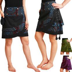 Wickelrock aus Baumwolle mit Druckknöpfen, Rock Urlaub Sommer Goa Freizeit Nr 14