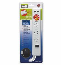 Mort Bay 4-OUTLET POWERBOARD w/ TV Antenna Line Surge Overload Protected - WHITE