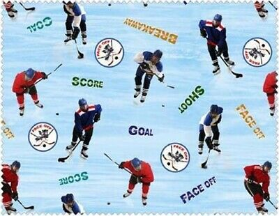 Score Goal Face Off Shoot Hockey Players blue Cotton Fabric Sport Collection