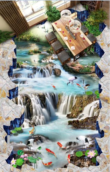 3D Karpfen Stream 406 Fototapeten Wandbild Fototapete Tapete Familie DE Lemon