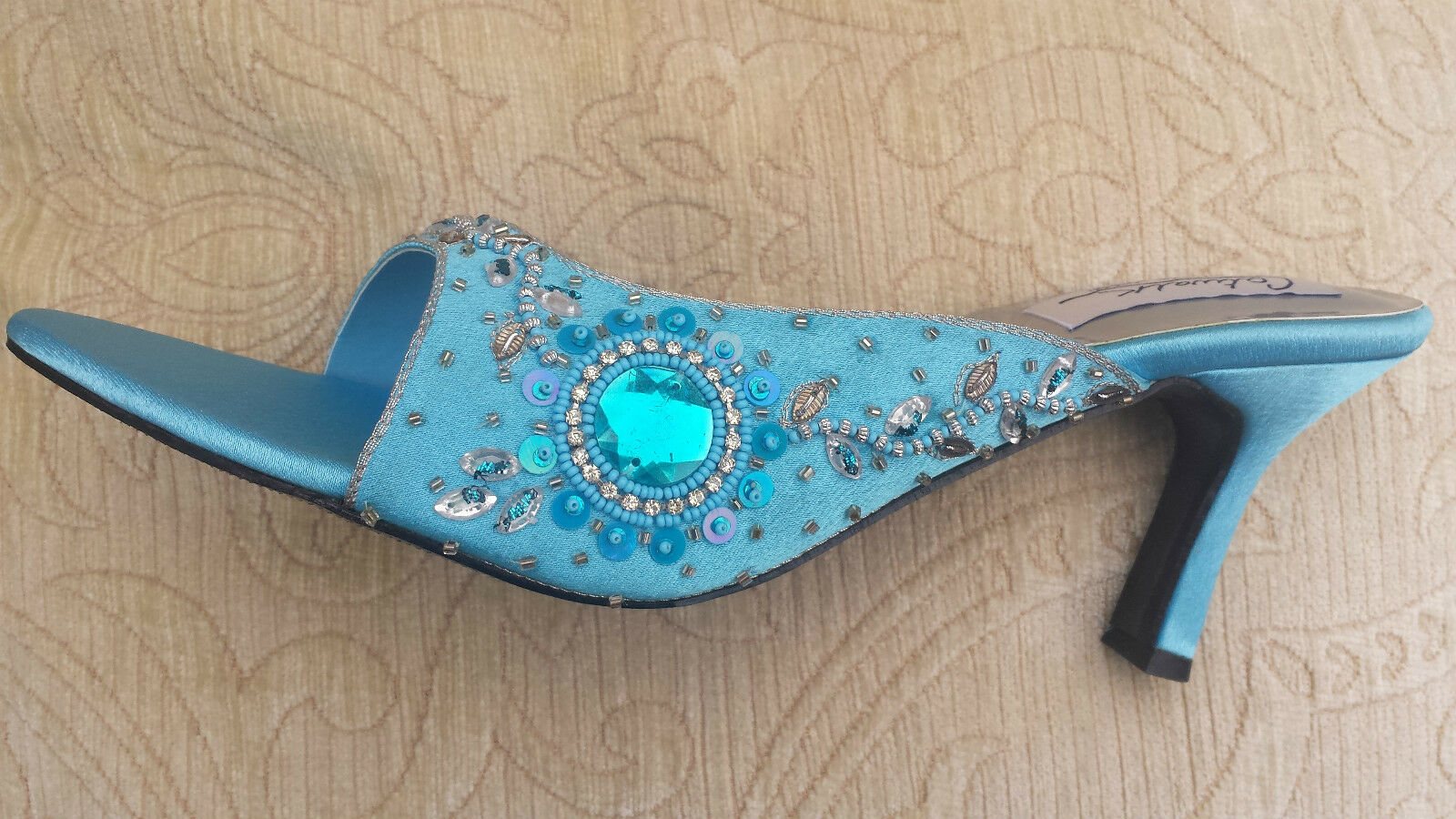 TURQUOISE LADIES WEDDING PARTY SLIPPER/MULES/<wbr/>BACKLESS SMALL HEEL SIZE 9