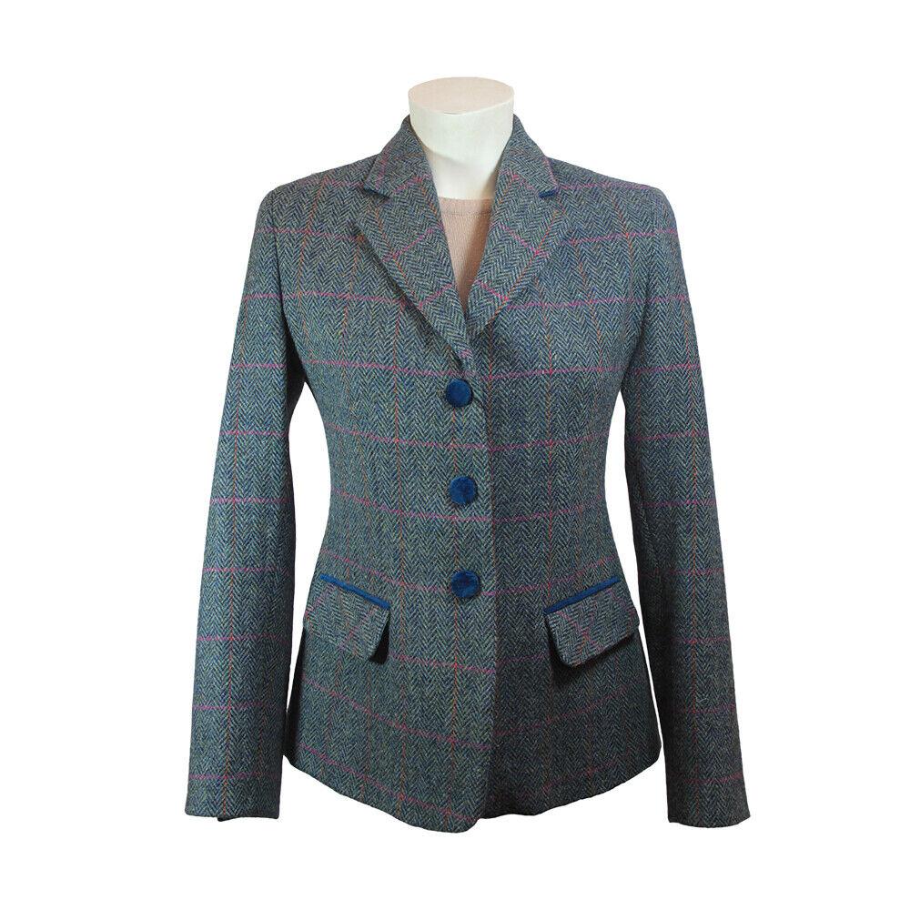 New Luxury Wool Ladies Harris Tweed Jacket - Melanie - Blue/Green - All Sizes