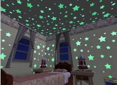 100Pcs Wall Stickers Home Decor Glow In The Dark Star sticker Decal Kids room