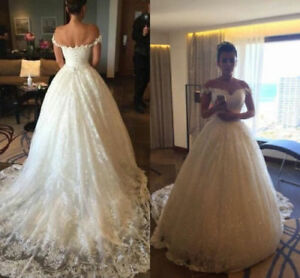 White-Ivory-Wedding-Dresses-Lace-Bridal-Ball-Gowns-Train-Custom-2-4-6-8-10-12