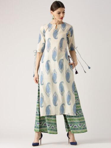 Indian women kurta Kurti With Palazzo Dress Top Tunic Set Solid Combo Ethnic New
