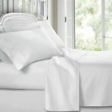 3-Pack FLAT BED SHEETS FULL XL BRIGHT WHITE 81x115 T180 PERCALE HOTEL LINEN