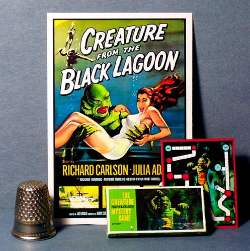 Dollhouse Miniature 1:12  Creature From The Black Lagoon Mystery Game /& Poster