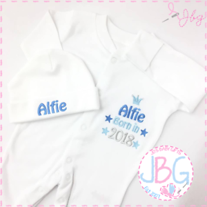 daea4d6d0 Personalised Baby Sleepsuit and hat set