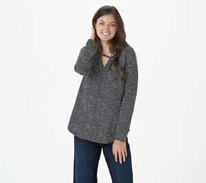Elizabeth & Clarke Long-Sleeve Top with Keyhole and StainTech (Black, L) A382692