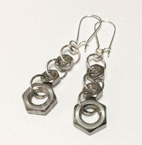 Industrial Metal Upcycled Earrings Stainless Steel Hex Nut Rock Steampunk Goth