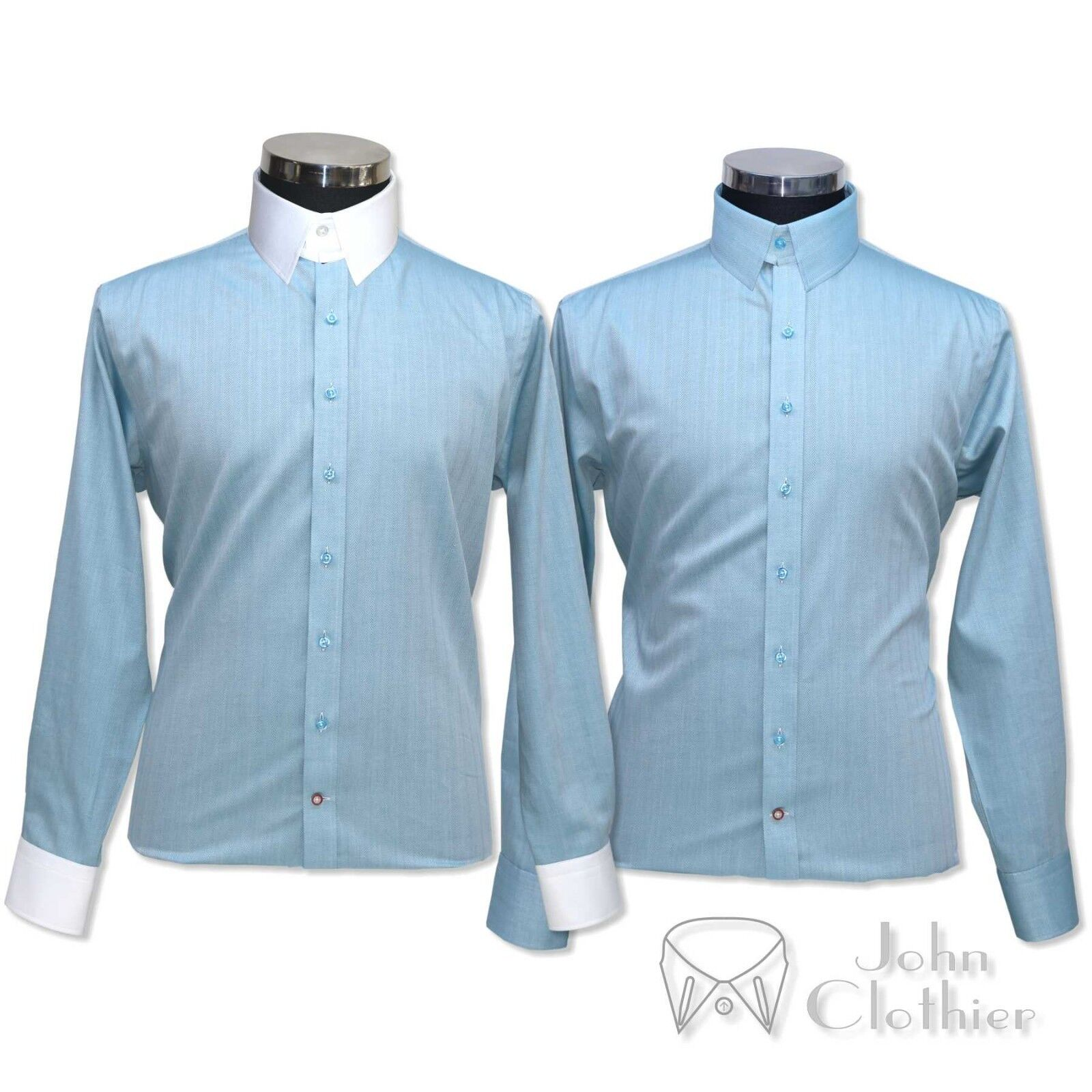 Tab collar  Herren Banker Cotton shirt Sea Blau Herringbone Loop James Bond Gents