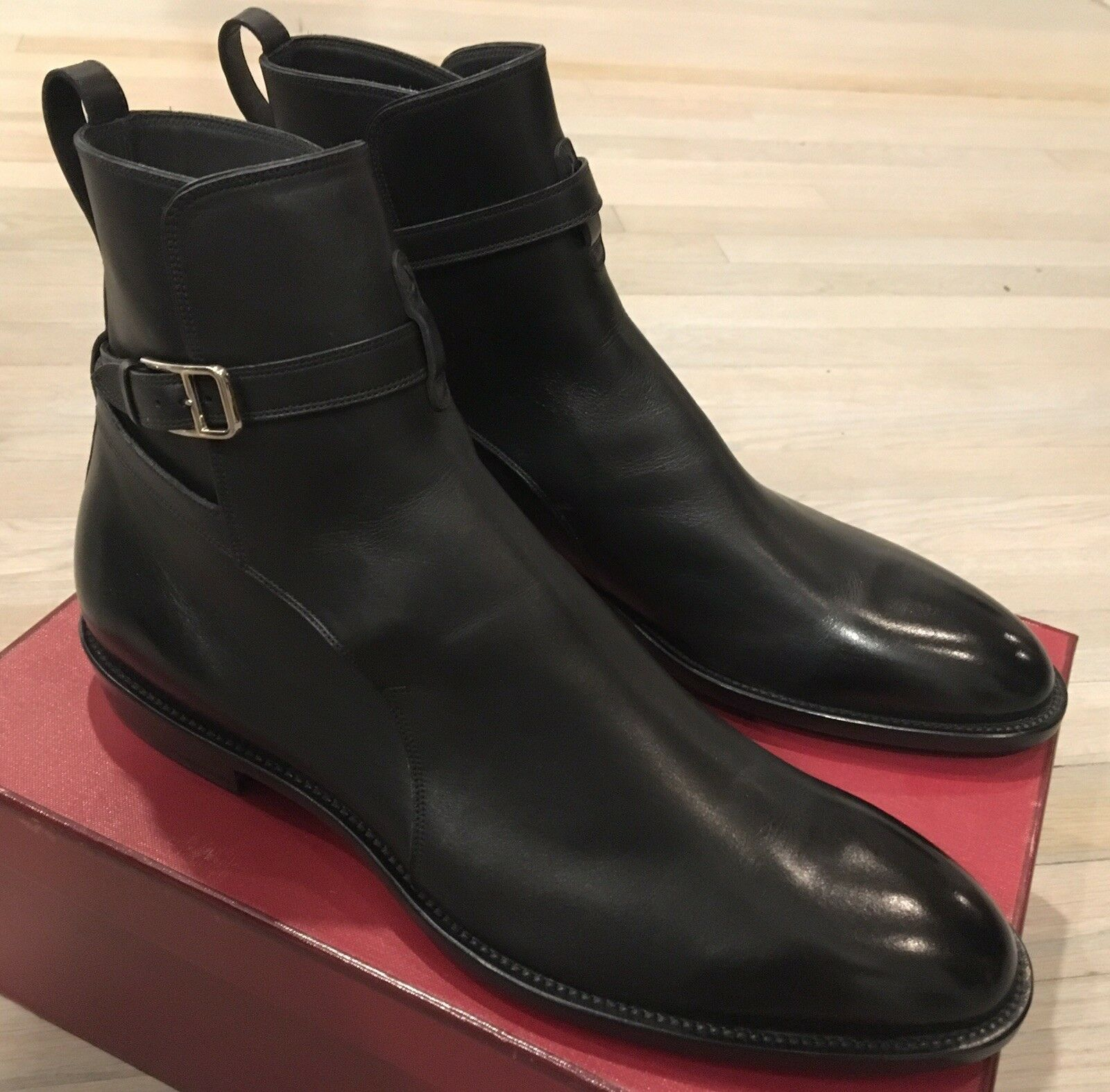 1,000  Bally Hobston Black Leather Ankle Boots Size US 10.5 Made in Switzerland