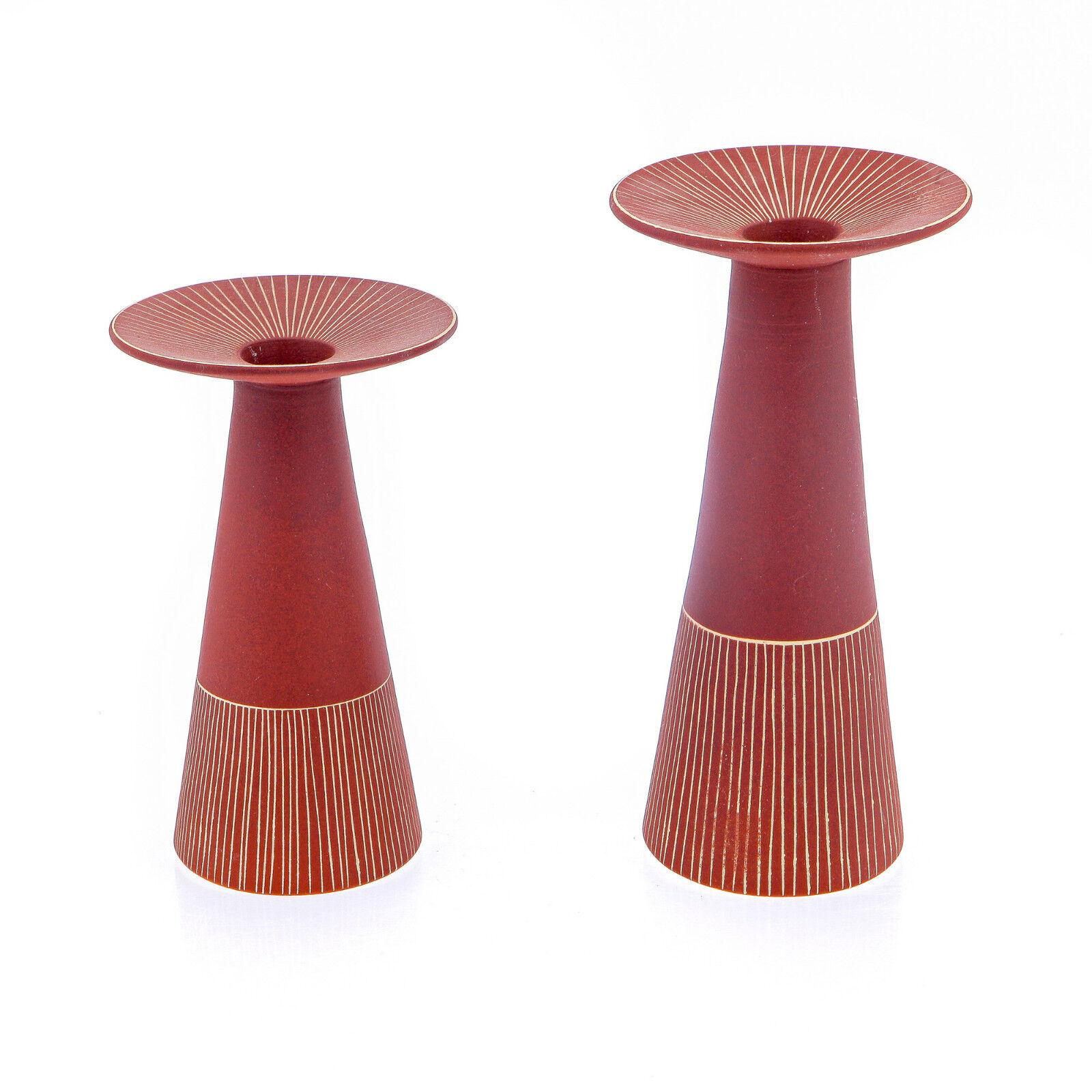 Pillar Candle Holder Pair - Handmade Modern Ceramic Candle Holders Set - rot