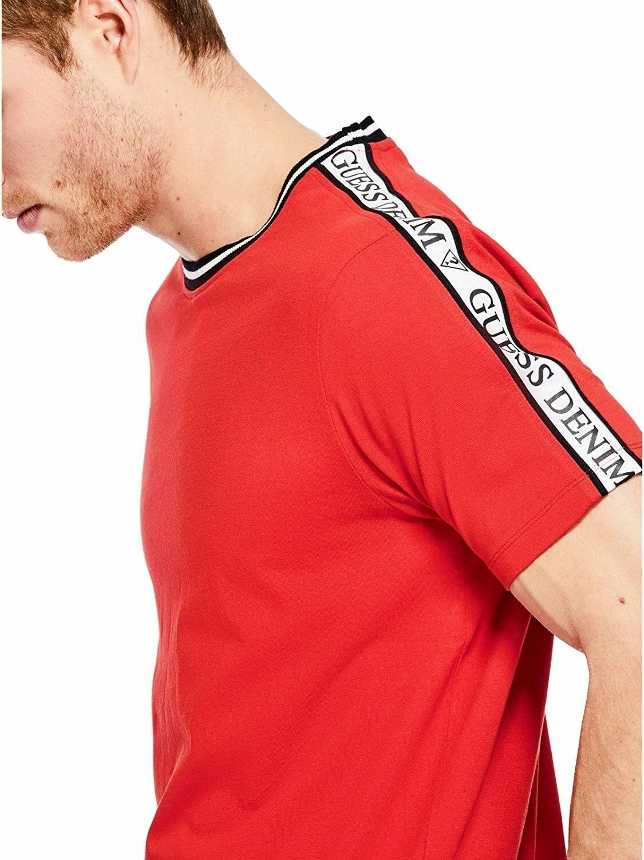 c1d29036 GUESS S S Retro Logo Stripe Ringer Crew T-Shirt Top L NEW Mens Red  nrsakr1606-T-Shirts