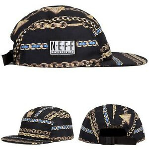 068f4dbe7be8c NEFF Styles For Miles 5 Panel Hat Cap Black Gold Chains Men ...