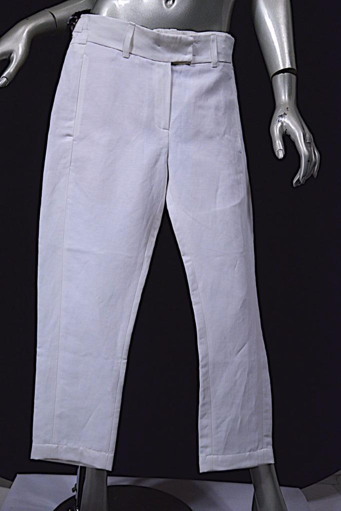 ANN DEMEULEMEESTER White Linen Nylon Blend Twill Crop Pant - GREAT - 38 US6