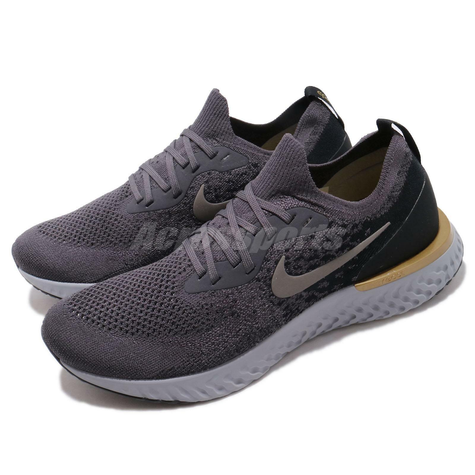 Nike Epic React Flyknit Grey Pewter Black Mens Running shoes AQ0067-009