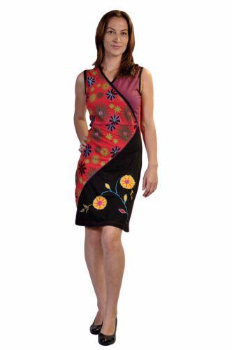 Robe motif Tattopani manches Patch floral avec pour sans d'été femme UwwdF4