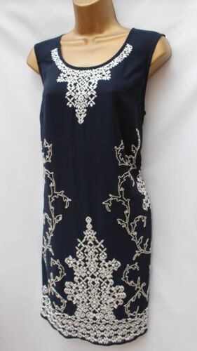 NEXT Navy White Embroidered Art Deco 20/'s Charleston Gatsby Party Cocktail Dress