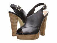 Steve Madden Giigi Black Leather Peep Toe Stacked Platform Taper Heels Shoes 9.5