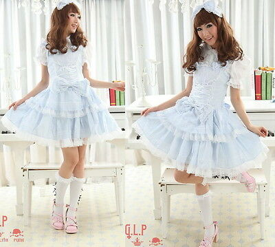 Dolly Sweet LOLITA QUENNY GOTHIC PUNK Blue Plaid DRESS+Shirt+Headdress S~L