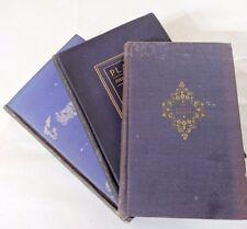 LOT OF 3 ANTIQUE OLD BOOKS PURPLE INDIGO SET 1903  - 1923 DECORATOR SHABBY CHIC